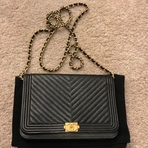 Boy Chanel wallet on chain calfskin&gold-tonemetal